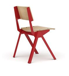 Red and wood chair #furniture #design