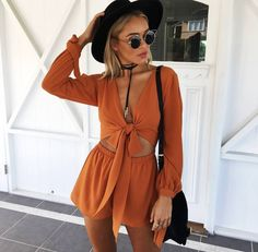 Love this burnt orange two piece, great styling x