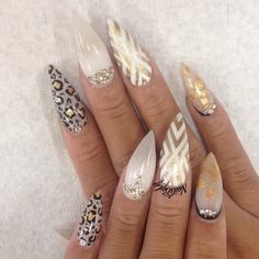 New Trendy Of Stiletto Nails Arts Design Sexy Nails, Dope Nails, Fancy Nails, Bling Nails, Gold Stiletto Nails, Nail Swag, Fabulous Nails, Gorgeous Nails, Nagel Bling