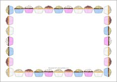 Cupcakes Page Borders Preschool Open Houses, Printable Border, Birthday Clips, Garden Figurines, Page Borders, Cupcake Art, Free Teaching Resources, Clipart Black And White, Fairy Cakes