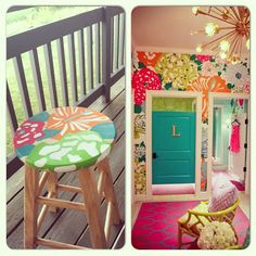 Lilly Pulitzer Inspired Stool Decor, My Room, Diy Furniture, Painted Furniture, Decor Inspiration, Home Decor, Lilly Pulitzer Diy, Chair Covers, Inspiration