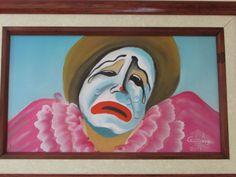 """Pintura de payaso triste en óleo, 10""""x""""6 tiene un costo de $100"""