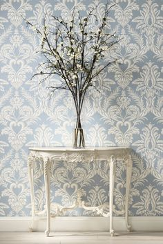 And finally a beautiful wallpaper from Nina Campbell called Ardwell which looks particularly stylish in this warm Wedgewood blue. Said Wallpaper, Luxury Wallpaper, Damask Wallpaper, Modern Wallpaper, Home Wallpaper, Wallpaper Online, Beautiful Wallpaper, Designer Wallpaper, Wallpaper Patterns