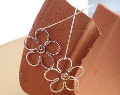 Flower Earrings With Spiral Handmade Using Sterling SIlver