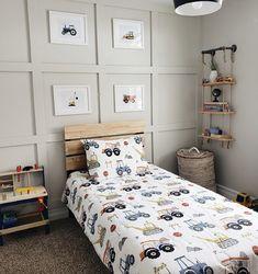 Toddler Boy Room Decor, Toddler Rooms, Boys Bedroom Decor, Young Boys Bedroom Ideas, Big Boy Bedrooms, Baby Boy Rooms, Boys Construction Room, Inspiration Room, Ideas Habitaciones