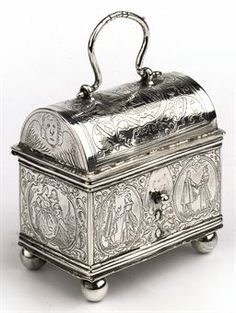 A Dutch silver marriage casket, Knottekistje