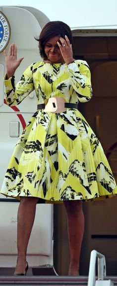 Michelle Obama Arrived in Tokyo, Japan Wearing a Fall 2014 Kenzo Dress