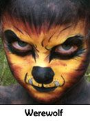 Scary Werewolf Face Painting Design
