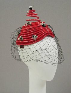 Hat Designer: Bes-Ben (American, founded Date: Culture: American Medium: plastic, synthetic, cotton Dimensions: Diameter: 7 in. cm) Credit Line: Gift of Muriel Kallis Newman, 2006 Quirky Fashion, 1960s Fashion, Vintage Fashion, Turbans, Crazy Hats, Red Hats, Women's Hats, Headgear, Hats For Women