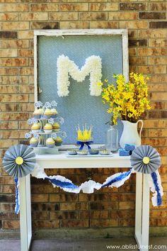 Amazing blue and yellow summer wedding dessert table - so pretty #wedding #weddingdessert #desserttable #blue #summerwedding