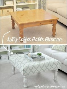 Living Room DIY – Turn a Coffee Table into an Upholstered Ottoman table in back shed.bottom of bed seat, imagine! Ottoman Table, Upholstered Ottoman, Ottoman Furniture, Bedroom Furniture, Fabric Ottoman, Office Furniture, Furniture Stores, Goodwill Furniture, Furniture Covers