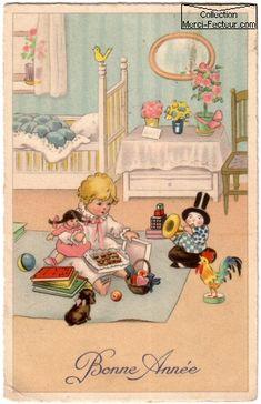 Dessin ancien de carte postale ancienne CPA avec bébé lit et jouets carte de voeux Bonne année