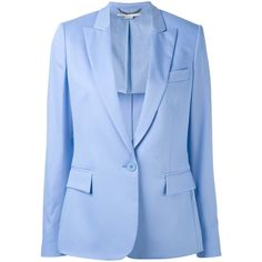 Stella McCartney Blue Single Breasted Blazer ($1,285) ❤ liked on Polyvore featuring outerwear, jackets, blazers, blue, blue blazer jacket, blue blazer, long sleeve blazer, blue jackets and stella mccartney jacket
