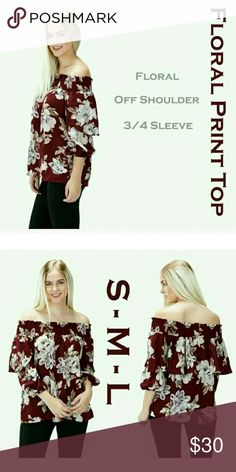 🌠COMING SOON🌠FLORAL PRINT OFF SHOULDER TOP 100% MADE IN USA  100% polyester  Model is wearing a size small  The color is BURGUNDY😊 BLOSSOM APPAREL  Tops