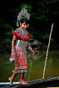 RP: A Little Iban Girl in her Traditional Costume. Sarawak, Borneo