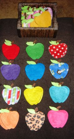 fantastic apple color / pattern matching set with lots of apple themed activities included! Flannel Board Stories, Felt Board Stories, Felt Stories, Flannel Boards, Preschool Apple Theme, Apple Activities, Autumn Activities, Preschool Activities, Preschool Apples