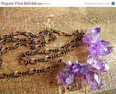 ON SALE Raw Amethyst Shard Necklace Oxidized by cuppacoffee, $26.35