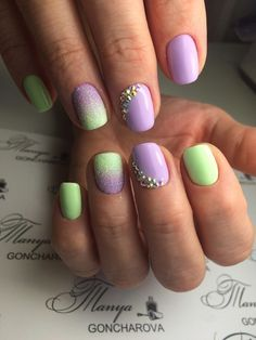 Embossed nails, Fashion nails 2016, Festive nails, Luxurious nails, Nails under light green dress, nails under violet dress, Nails with stones, Ombre nails