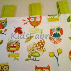 Plain lime green panama cotton tabtops  to decorate children's curtains designed by kidsfabrics.co.uk