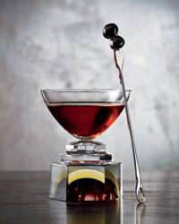 This take on the Manhattan is Andrew Pollard's tribute to Italian American culture and the annual San Gennaro festival in New York's Little Italy. He combines rye, a quintessentially American spirit, with three from Italy: citrusy Averna amaro, spicy Campari and the sweet vermouth Carpano Antica Formula.