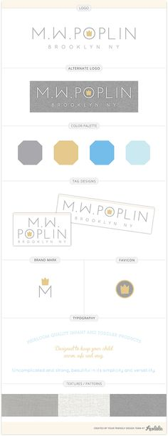 M.W. Poplin logo and brand identity guide by Mariah DeMarco for Aeolidia.