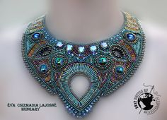 Bead embroidered collar, Lovely Colors Green, Patina, Blue, with Swarovski Crystal, Unique Fall Fashion - OOAK. $350.00, via Etsy.