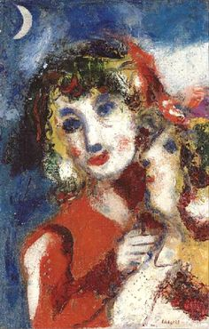 Marc Chagall「Bella et Ida à la lune」