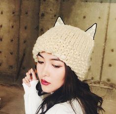 Wool Blend Beret Women Top Hat Beanie Cape Cute Grey//Pink Cat Ears Design