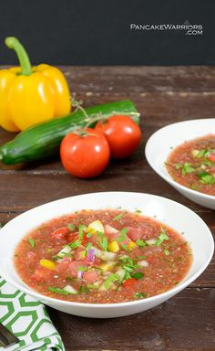Easy Watermelon Gazpacho ~ A perfect summer soup! Packed with veggies and fruit, this low fat, gluten free, vegan recipe is sure to please a crowd! ~ from www.PancakeWarriors.com
