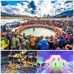 ¿Pescarías a mano o con cañas en el hielo?     Así puedes divertirte en el Festival de Sancheoneo de Hwacheon. Además puedes montarte en trineos, bicicletas sobre el hielo ¡y hasta jugar al fútbol en una pista de hielo!