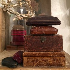 Stack of leather boxes
