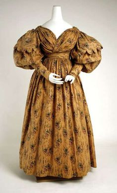 1830's - Puffed sleeves, also known as Gigot sleeves or leg o'mutton sleeves, came into fashion in the 1830s, and were part of the Victorian era fashion spiral until the 1890s. In the  1830s, gigot sleeves did not start where the sleeve and shoulder of the dress met. Instead, gigot sleeves began at the top of the arm, helping to create a fashionable sloped shoulder look.