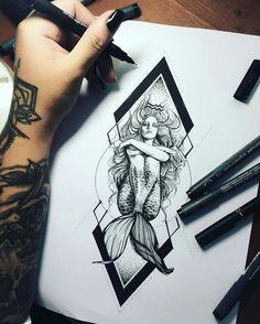 Tattoo Designs Maori Tatoo 31 New Ideas Trendy Tattoos, Tattoos For Women, Cool Tattoos, Tatoos, Mermaid Drawings, Mermaid Tattoos, Mermaid Tattoo Designs, Octopus Tattoos, Back Tattoos