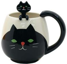 CAT MUG WITH SPOON #18.00 http://thingsfromjapan.net/cat-mug-spoon/ #cute cat mug #cat mug #cute cat items #kawaii cat stuff