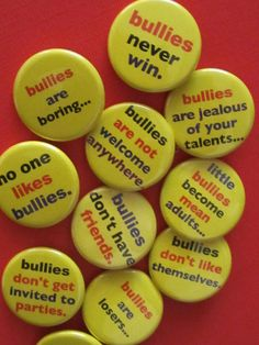 Something has to be done about all the bullying going on...REPIN this set of anti-bullying pinback buttons if you support the fight against bullies. THANKS!