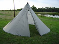 One Pole Tyvek Tipi: The 'skin' of a tipi is very nearly a semicircle. If it is a 'normal' 60 degree (cone) tipi, then (apart from a slight overlap for keeping out drafts), that's exactly what it is. A semicircle with radius 'R' (eg 10' – the width of the widest roll of Tyvek) will make a tipi which is approximately 10' wide at the base. Ultra Light Hiking Backpacking