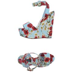 Dolce & Gabbana Sandals ($786) ❤ liked on Polyvore featuring shoes, sandals, sky blue, leather sole sandals, round toe shoes, wedge shoes, dolce gabbana shoes and round toe wedge shoes