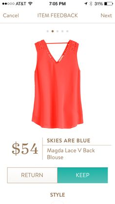 Lace v-back blouse. The color here doesn't do it justice. It is really bright and super cute top. Keeper!!!! Stitch fix