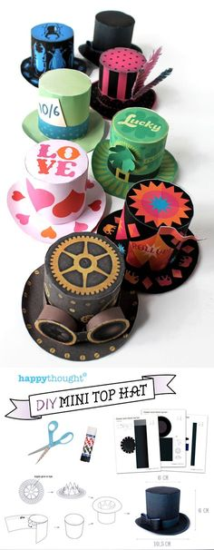 printable mini paper top hat templates for fun - Crazy Hat Day! Crazy Hat Day, Crazy Hats, Diy Paper, Paper Crafts, Hat Crafts, 3d Templates, Crafts For Kids, Arts And Crafts, Ideias Diy