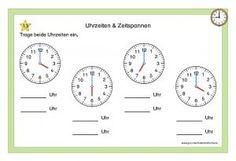 Kartei Uhrzeiten & Zeitspannen Chart, Education, Kind, Math Clock, Teaching Ideas, Onderwijs, Learning