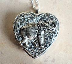 Elephant Music Box Locket in Silvertone ** Learn more by visiting the image link. (Amazon affiliate link)