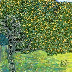 Goldener Apfelbaum (Golden Apple Tree) Goldener Apfelbaum is the first achieve Klimt takes in direction of geometrization of vegetal forms. The apple tree is unidentifiable as such, the leaves and the golden apples serve as a formal mean of decoration. Gustav Klimt, Klimt Art, Monet, Baumgarten, Foto Poster, Golden Apple, Drawn Art, Art For Art Sake, Apple Tree