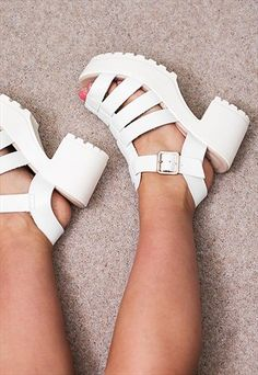 JAMON+Heeled+Cleated+Sole+Platform+Sandal+Shoes+-+White