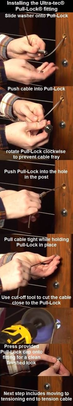 Installing Ultra-tec® cable railing Pull-Lock® fitting. DIY friendly.