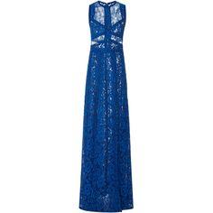 Elie Saab Sleeveless Lace Maxi Dress (55,830 HKD) ❤ liked on Polyvore featuring dresses, gowns, elie saab, maxi dress, long dress, blue, sleeveless maxi dress, blue ball gown, blue lace gown and blue lace dresses