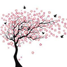Cherry blossom tree tattoo wall decals ideas for 2019 Cherry Blossom Drawing, Pink Cherry Blossom Tree, Blossom Trees, Cherry Tree, Tree Wall Painting, White Bird Tattoos, Blossom Tree Tattoo, Flower Nursery, Flower Wall Stickers