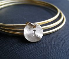 custom initial gold bangles, set of 3 personalized gifts, letter disc charm, bridesmaid gifts, gold disc bracelet