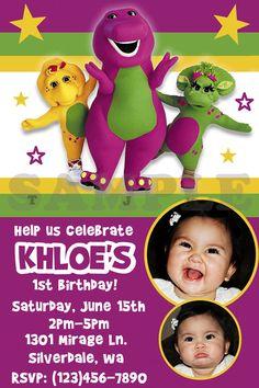 Barney Birthday Invite for Khloe's bday Barney Birthday Party, Barney Party, Birthday Fun, 1st Birthday Parties, Birthday Ideas, Barney Stinson Quotes, Lolly Bags, Birthday Invitations, Invites