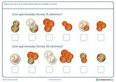 Ficha de sumar dinero para Primaria