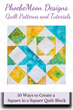 How many ways are there to make a Square in a Square Quilt Block? I count at least This tutorial will help you make make this sample quilt block. Paper Piecing Patterns, Quilt Block Patterns, Quilt Blocks, Half Square Triangle Quilts, Square Quilt, Quilting Blogs, Quilting Projects, Quilting For Beginners, Sewing Projects For Beginners